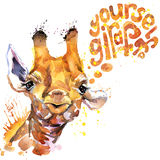 Giraffe T-shirt graphics. giraffe illustration Royalty Free Stock Photos