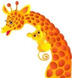 Giraffe and tarsier. Cute cartoon giraffe and tarsier isolated on white background stock illustration