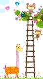 Giraffe and tree vector illustration