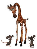 Giraffe with two cartoon mice. Tall small concept Stock Photography
