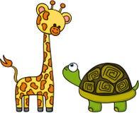 Giraffe und Schildkröte sind der beste Freund lizenzfreie abbildung