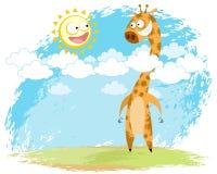 Giraffe und Sonne Lizenzfreies Stockbild