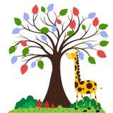 Giraffe under tree Stock Photo