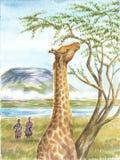 Giraffe, Ureinwohner und Kilimangaro Lizenzfreies Stockbild