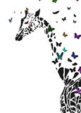 Giraffe. Vector silhouette of giraffe with butterflies flying around stock illustration