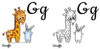 giraffe Vektoralphabetbuchstabe G, Färbungsseite Stockfotografie