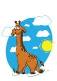 Giraffe walking through the savanna. Painted giraffe walking on the background of blue sky Vector Illustration