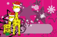 Giraffe xmas background1 Stock Photos