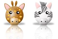Giraffe and zebra animals icons stock image