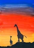 Giraffen bij zonsondergang, waterverfillustratie Stock Foto
