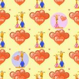 Giraffen en ballons in de vorm van een hart royalty-vrije illustratie