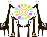 Giraffen met zon Stock Afbeelding