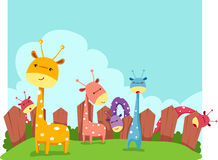Giraffes. Illustration of landscape cute giraffes Royalty Free Stock Photography