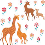 Giraffes and antelopes Stock Photography