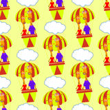Giraffes in a balloon and cloud. seamless pattern Royalty Free Stock Photo