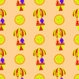 Giraffes in a balloon and the sun seamless pattern Royalty Free Stock Images