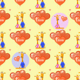 Giraffes and balloons in the shape of a heart royalty free illustration