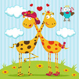 Giraffes boy, girl and bird Royalty Free Stock Photography