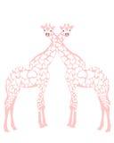 Giraffes dans l'amour Images libres de droits