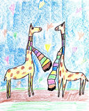 Giraffes Falling in Love. Royalty Free Stock Images