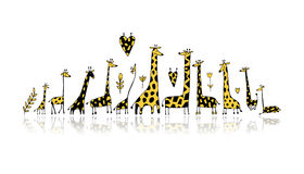 Giraffes family, sketch for your design Stock Photo