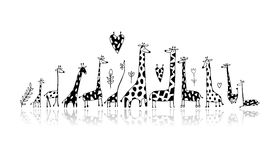 Giraffes family, sketch for your design Stock Photography