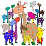 Giraffes in a group. Colorful cartoon character Royalty Free Stock Image