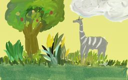Giraffes in the jungle. For childreen story book Royalty Free Stock Images
