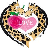 Giraffes and love Royalty Free Stock Photo