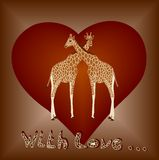 Giraffes in love. Illustration of safari animals giraffe in love with brown background Stock Images