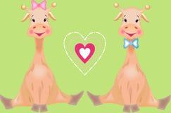 The giraffes in love stock illustration