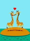 Giraffes in love. Funny vector illustration. Two giraffes in love. Funny vector illustration stock illustration