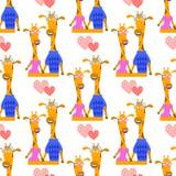 Giraffes in love. seamless pattern Stock Photo