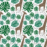 Giraffes, palm leaves and dots seamless pattern on white background. Royalty Free Stock Image