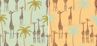Giraffes seamless patterns. Two giraffes seamless patterns in a retro style - vector illustration Royalty Free Stock Images