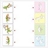 Giraffes sportsmen playing tennis and running. Educational game Royalty Free Stock Photo