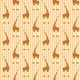 Giraffes on stripes pattern. Cartoon giraffes on stripes pattern Royalty Free Stock Photos