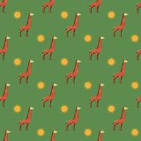 Giraffes and sun pattern Royalty Free Stock Image