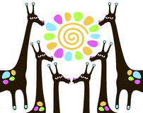 Giraffes with sun Stock Image
