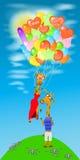 Giraffet med många ballonger flyger bort royaltyfri illustrationer