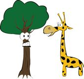 Giraffet och gyckeltreen stock illustrationer