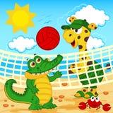 giraffkrokodil som spelar i strandvolleyboll Arkivbild