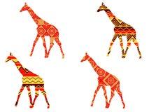 Giraffmodell Giraff i etnisk stil inställda giraff Arkivfoton