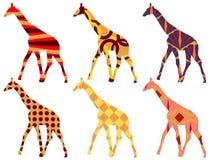 Giraffmodell Giraff i etnisk stil inställda giraff Royaltyfri Foto