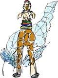 giraffvattenfärg stock illustrationer