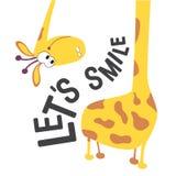 Girafhoofd en hals voor ontwerp op babykleren, stoffen, kaarten en boeken Laat ons een glimlach-positief motievenuitdrukking of e stock illustratie