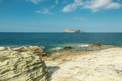 Giraglia海岛在可西嘉岛的北一角的 免版税库存图片