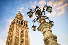 The Giralda, bell tower of the Cathedral of Seville in Seville, Andalusia, Spain. La Giralda is the bell tower of the Cathedral of Seville in Spain, one of the Royalty Free Stock Photography