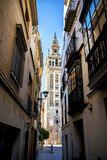 The Giralda, bell tower of the Cathedral of Seville in Seville, Andalusia, Spain. La Giralda is the bell tower of the Cathedral of Seville in Spain, one of the Royalty Free Stock Photos