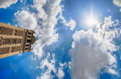 Giralda and blue sky: the monument of Seville Royalty Free Stock Photo